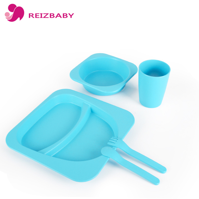 reizbaby high quality 5pcs set baby kids plates spoon fork drinking