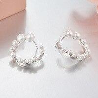 925 sterling silver jewelry for women moon pearl stud earrings monaco jewelry conch style earrings monaco accessories