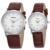 WOONUN Top Marca de Luxo Casal Relógios Para Amantes Genuína Pulseira de Couro de Quartzo-Relógio de Forma Das Mulheres Dos Homens Par Relógios Melhor presente