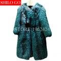 Free shipping Plus size 2017 new winter fashion women High-quality silver fox stripe peacock blue plus long fox fur coat &custom