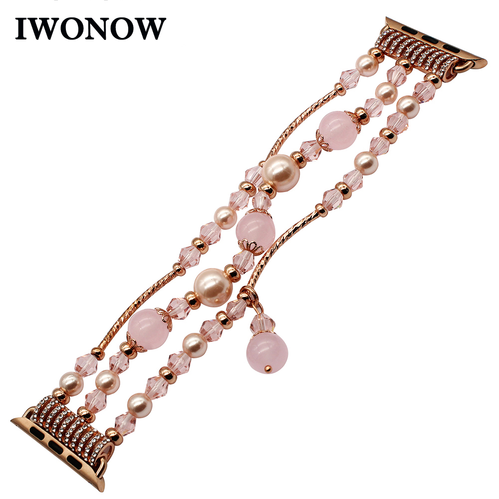 Luxury Agate Bead Watchband with Adapters for iWatch Apple Watch 38mm 42mm Series 1 2 3 Flexible Band Woman Strap Wrist Bracelet
