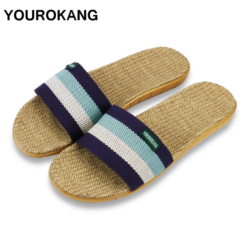 YOUROKANG Summer Autumn Men Home Slippers Slides Indoor Floor Antiskid Striped Linen Slippers Unisex Couple Shoes Dropshipping new 2017 fashion flax slippers men summer couple indoor home slippers male comfortable floor slippers home men hemp slides