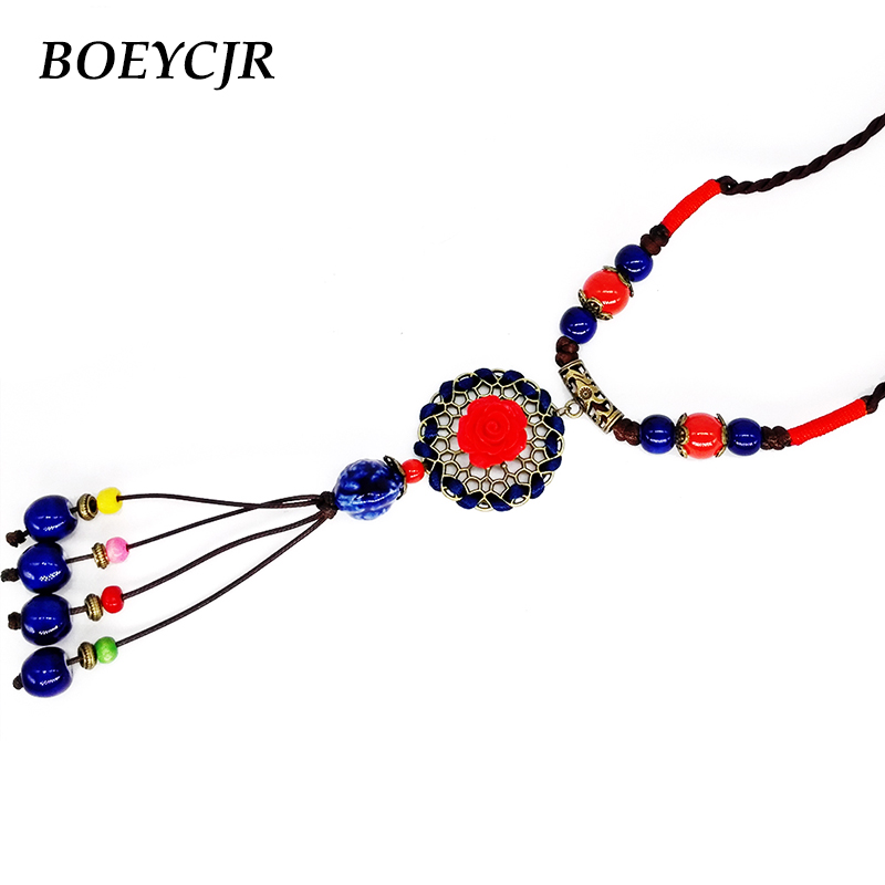 BOEYCJR  Red Flower Ceramic Beads Tassel Necklace Chain Handmade Chinese Ethnic Adjustable Long Pendant Necklace for Women 2019 bead