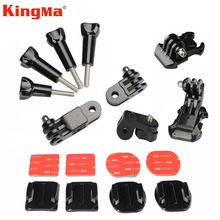 Kingma Gopro Flat Curved Adhesive Mount+Three-way Pivot Arm+Screw For Gopro Hero 3 4 Xiaomi Yi 2 4K Accessories Black Edition