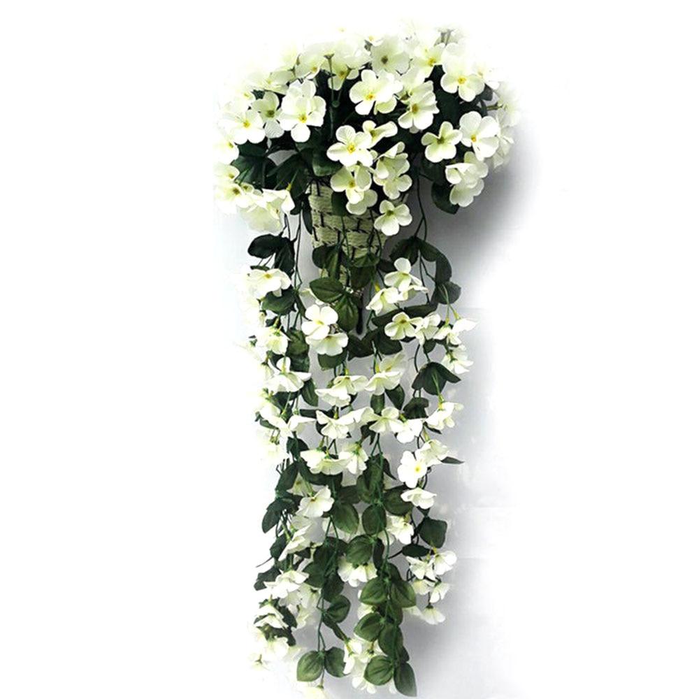Шелк ткань Моделирование Фиолетовый цветок орхидеи лоза балкон офисные модные европейские украшения для свадебной вечеринки украшения Настенный декор - Цвет: white