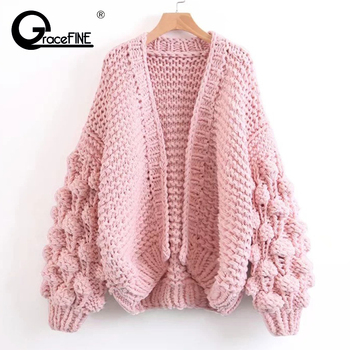 Women Cardigans Sweater Autumn Winter Coat Fashion Korean American Long Lantern Sleeve Knitting Cardigan Shawl Sweater 2019 New handbag