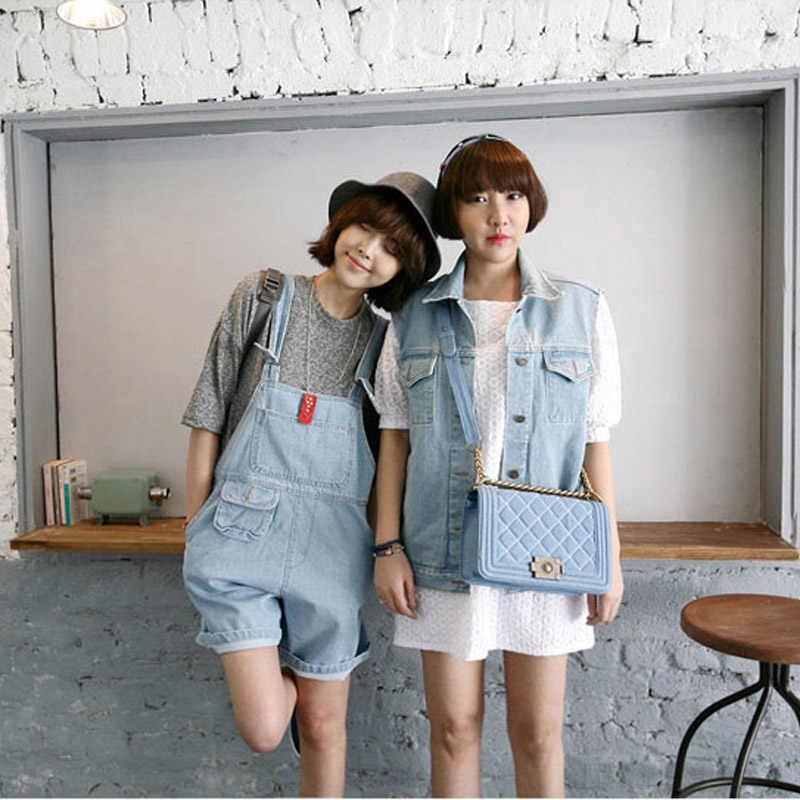 Женские милые джинсовые комбинезоны в Корейском стиле повседневные Комбинезоны свободные джинсовые шорты с карманами Бесплатная доставка