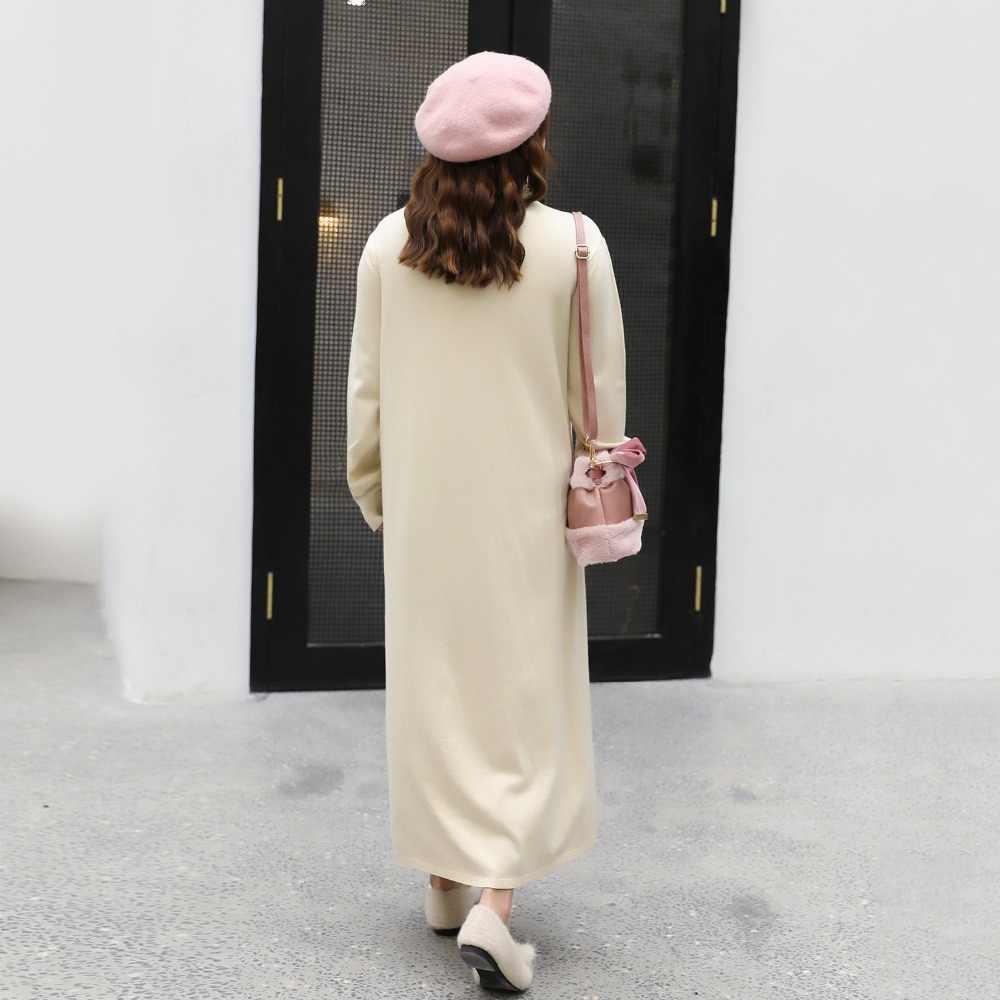 새로운 터틀넥 스웨터 롱 드레스 여성 가을 2019 겨울 두꺼운 긴 소매 드레스 슬림 여성 점퍼 여성 니트 드레스 l121