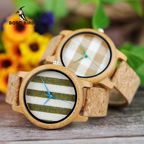 BOBO BIRD Cloth Dialplate Bamboo Wood Watch for Men Leather Strap Japan Quartz Wood Watches Women as Fashion Accessories Pakistan