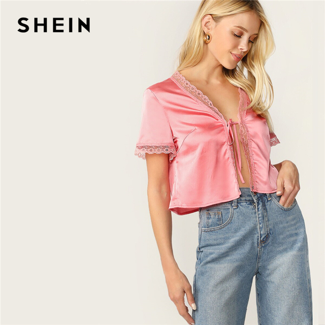 43149cace9 SHEIN Lace Trim Tie Front Satin Blouse Women 2019 Chic Summer Short Sleeve  Pink Tops Glamorous Sexy Solid Crop Blouses