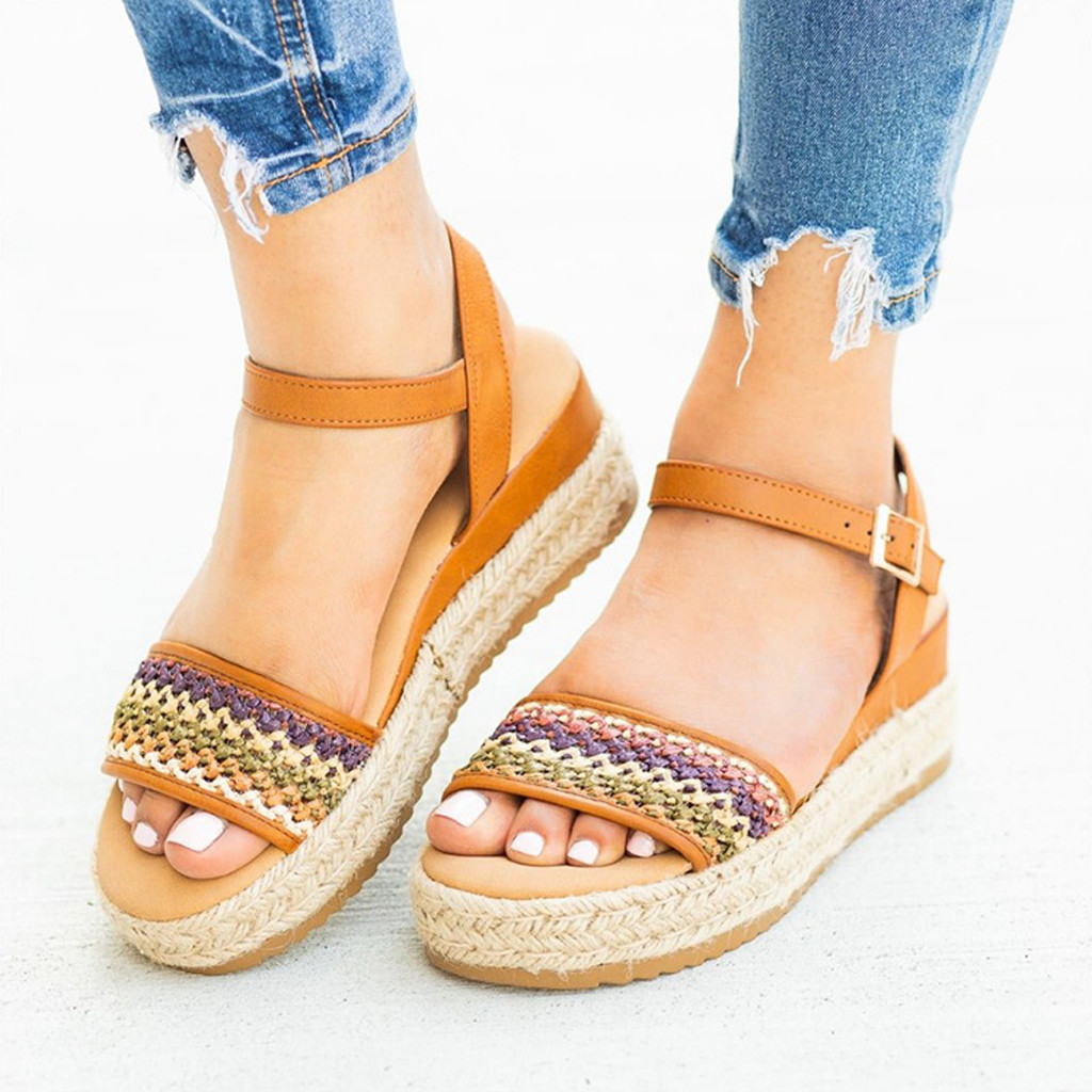 Ladies Sandals Platform-Shoes Weaving 43-Buckle Bohemian Thick-Bottom Rope Hemp Large-Size