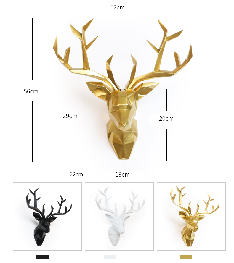 3D Deer Head Statue Sculpture Decor Home Wall Decoration Accessories Large Animal Figurine Wedding Party Hanging Decorations (3)