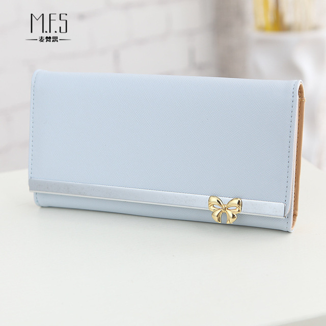 2016 New Fashion PU Leather Metal Trim Women Wallets Bow 6 Colors Candy Colors Wallet Long Ladies Clutch Coin Purse Card Holder