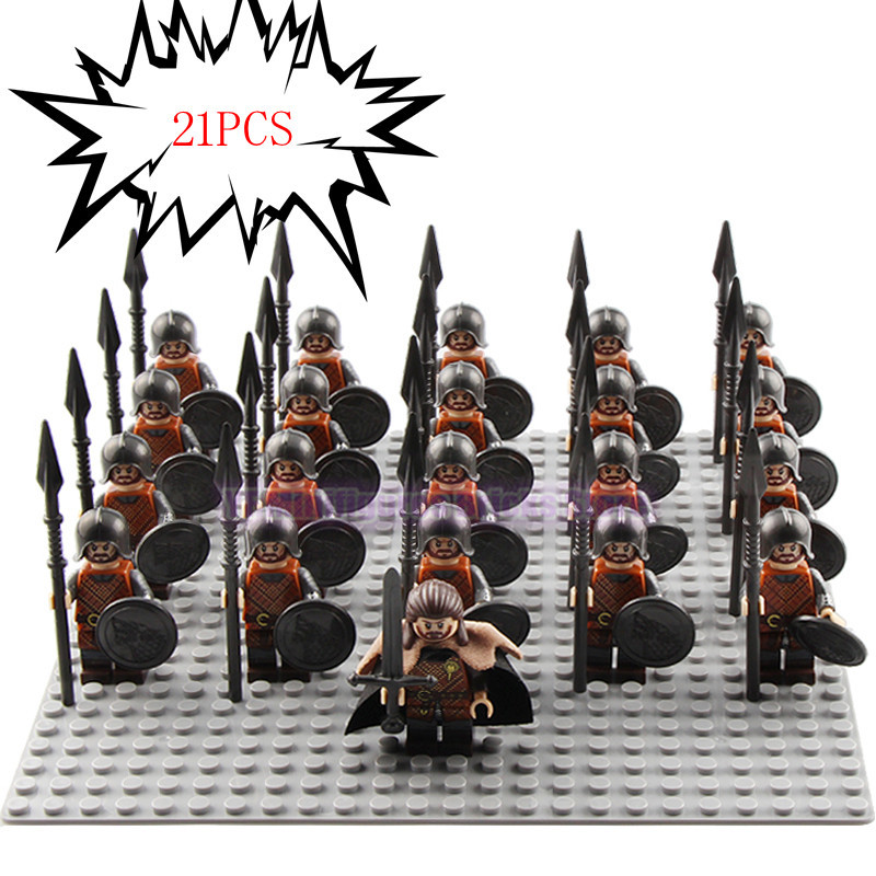 Image 3 - 21Pcs/Lot Game of Thrones Kingsguard Legoed Army Minifigured Playmobil Medieval Knight Soldiers Military Building Blocks Toys-in Blocks from Toys & Hobbies
