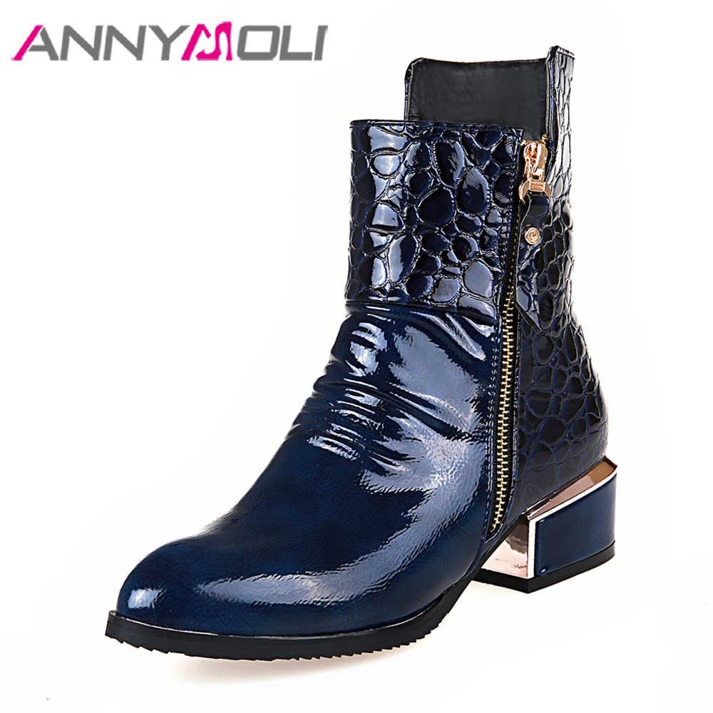 ANNYMOLI Kadın Chelsea Çizmeler Oyma Kare Topuklu yarım çizmeler Yeni Sonbahar Zip Orta Topuklu Kısa Ayakkabı Kış Mavi Artı Boyutu 3 -10