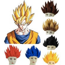 Anime Dragon Ball Goku Cosplay Wigs 8 colors Super Saiyan Gold Blue Red  Black Peluca Wigs 74cef56ec083