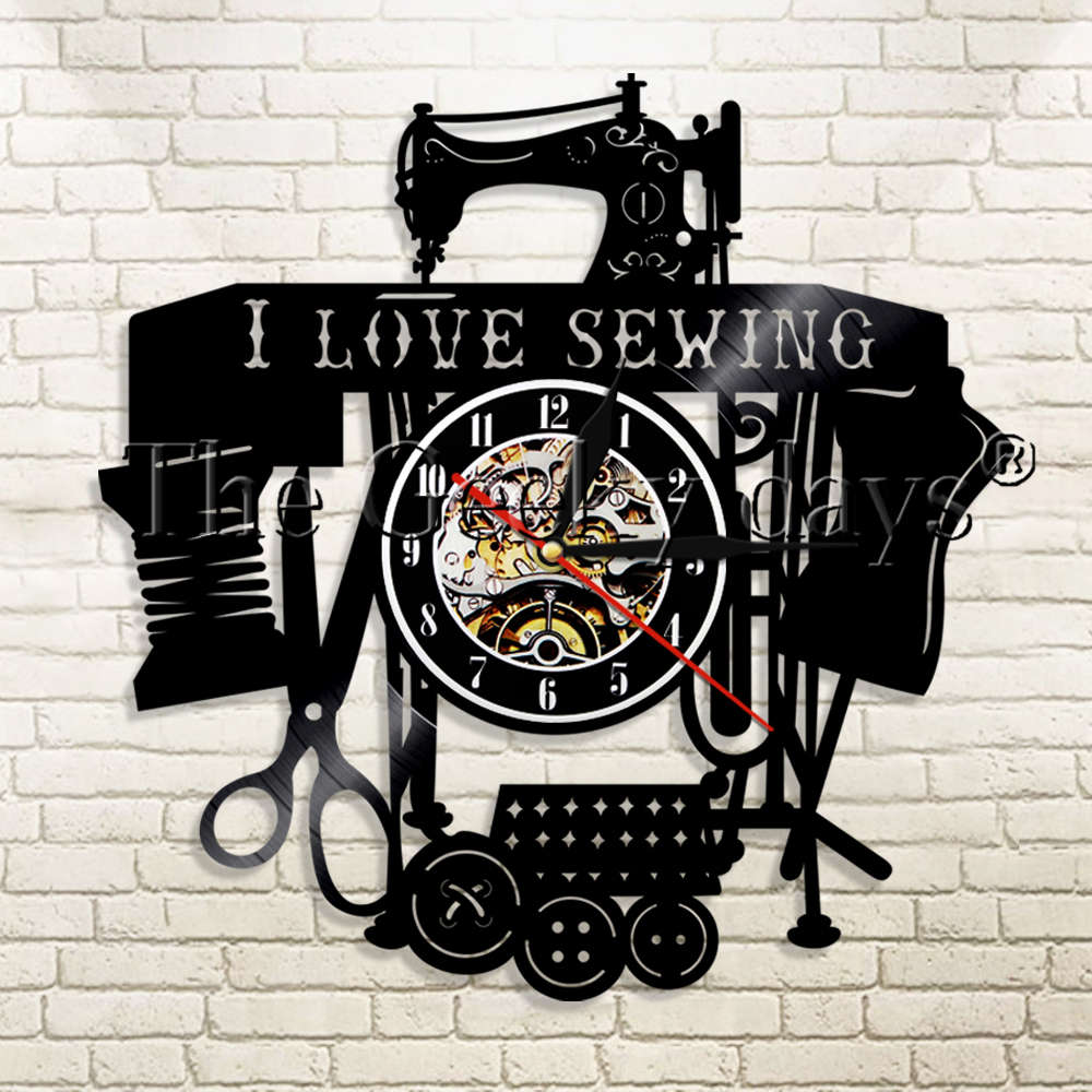 1Piece I Love Sewing Vinyl Record Wall Clock Seamstress Modern Design Sewing Machine Sewing Room Wall Watch Decor Sewing Gift