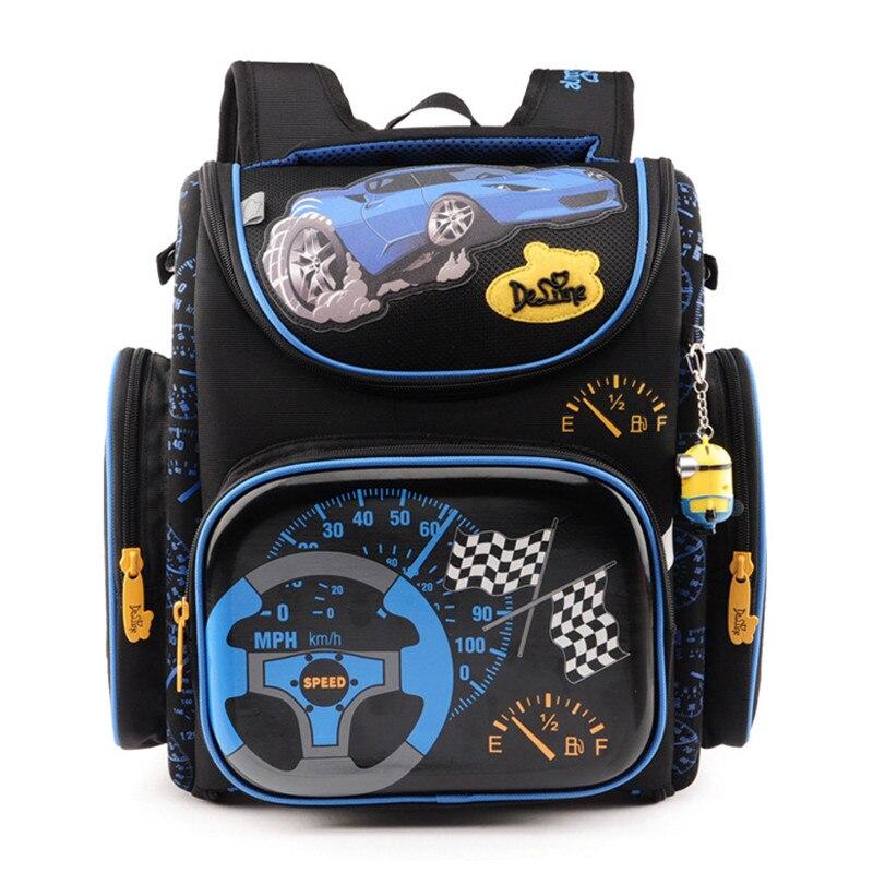 Первичная delune мультфильм известный бренд дети открываются школы рюкзак мальчики автомобили голубой новые модели водонепроницаемый ортопедические школьные сумки