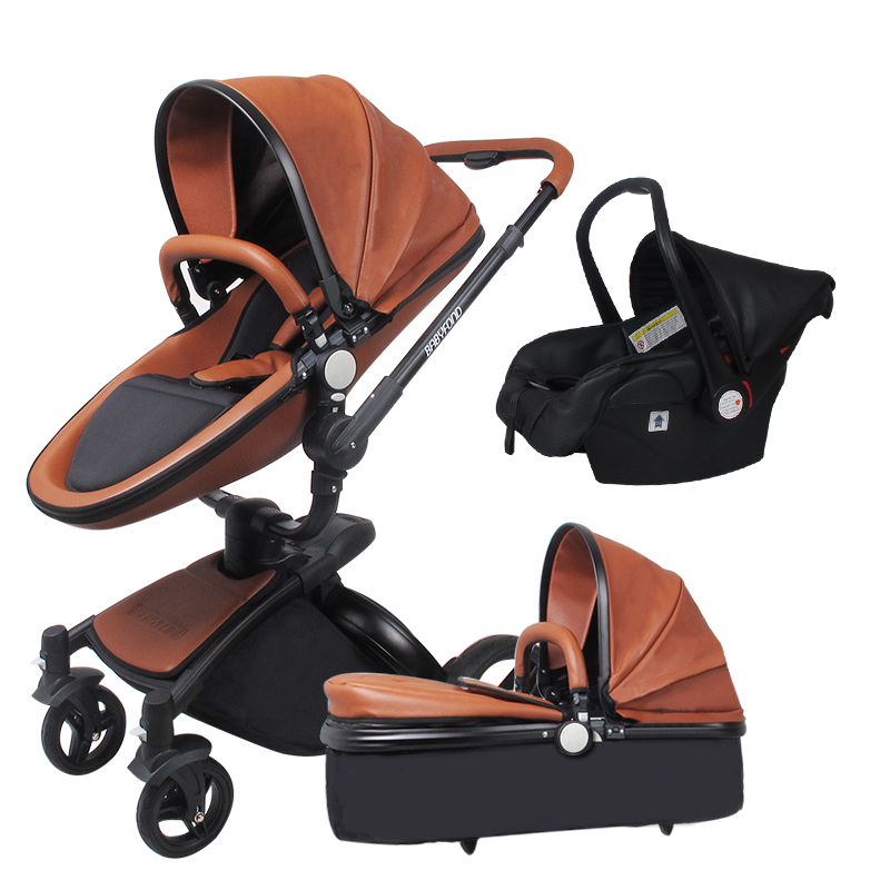 EU market hot sell baby strollers 3 in 1 baby stroller leather newborn baby pram gold black basis Free Ship USA free gifts car