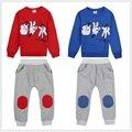 Mickey Morra Dedo Juego de Los Niños Trajes Del Deporte Del Bebé Niños Character Kids Sudaderas Chándales Traje Pantalón Rojo Azul 2 Unidades Set