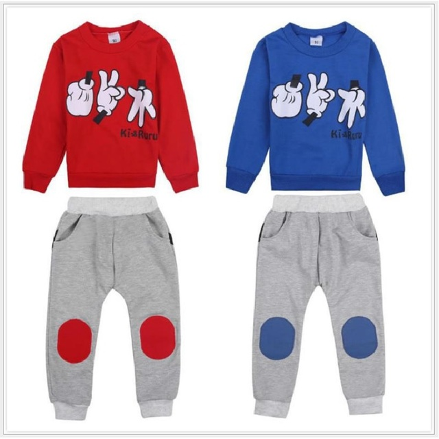 Mickey Morra Finger Play Children Sport Suits Baby Boys Tracksuits Character Kids Sweatshirts Trouser Suit Red Blue 2 Pieces Set