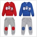 Mickey Personagem Morra Dedo Jogar Crianças Meninos fatos de Treino Ternos Do Esporte Do Bebê Crianças Camisolas Terninho Azul Vermelho 2 Peças Set