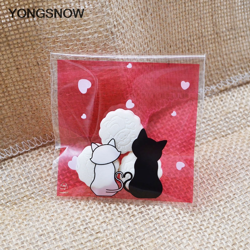 50pcs 7x7cm Small Plastic Bags Cartoon Couple Cat Candy Bags Wedding Decoration Cookie Bag Gift Packaging Bag Festival Supplies