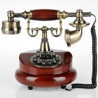 Telephone Antique Wood Retro European Fashion Home Phone Optional Rotary Dial Telephone