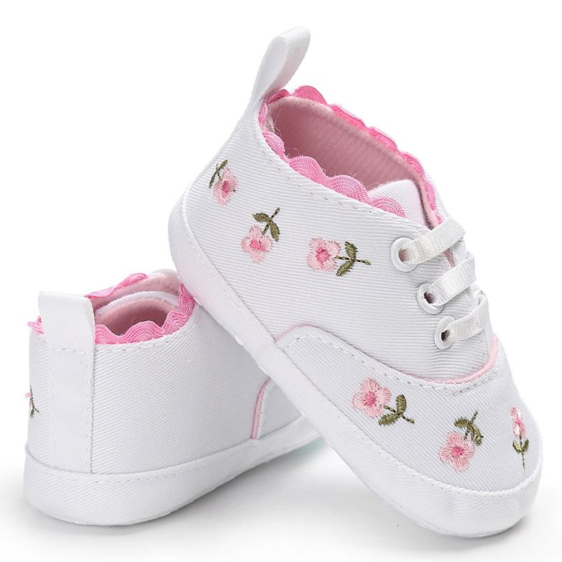 TELOTUNY 2017 Baby First Walker Newborn Infant Baby Girls Floral Crib Shoes Soft Sole Anti-slip Sneakers Canvas 18.18