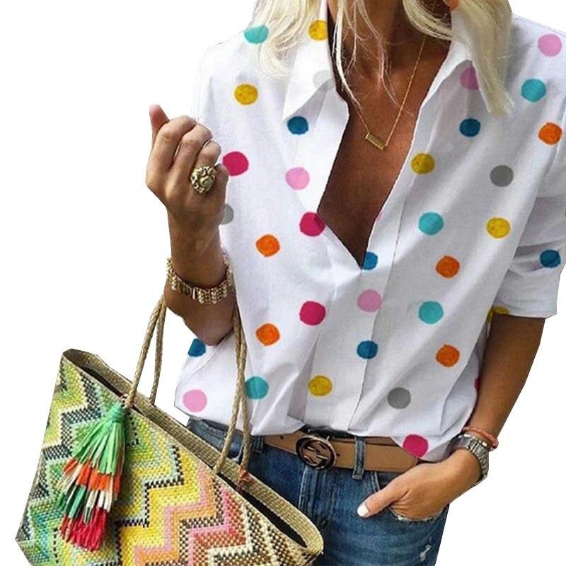 Dot Print Women Blouses 2019 Fashion Long Sleeve Turn Down Collar Office Shirt Chiffon Blouse Shirt Casual Tops Plus Size Blusas