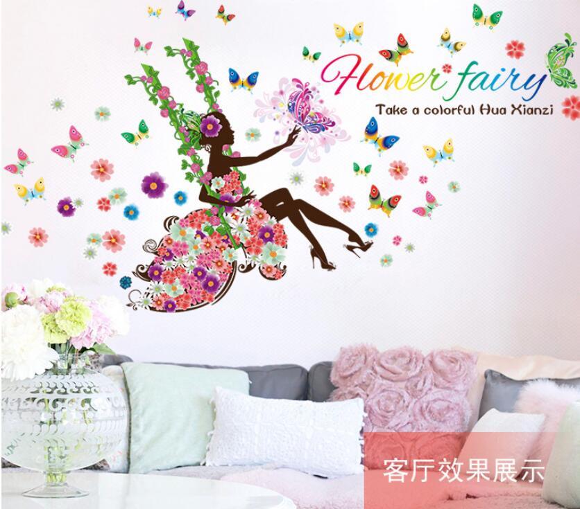 Moda moderno diy decorativo mural pvc chica mariposa dormitorio sala de etiqueta