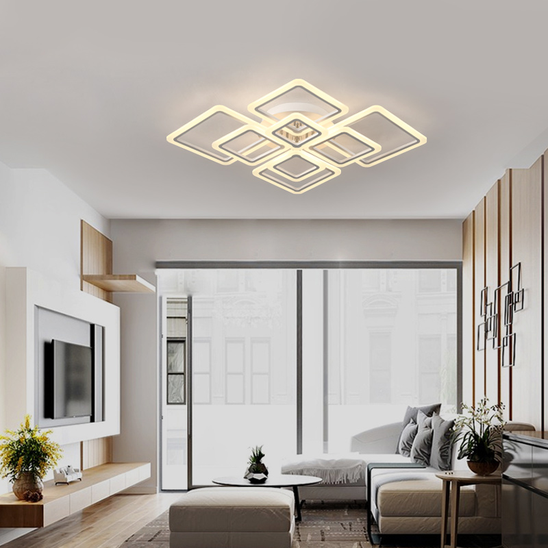 Modern acrylic LED ceiling lights Square frames frames large luxury ...