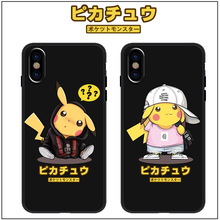 Japan anime black phone case Pokemons Pikachue kawaii cases for coque iPhone 7 8 6s 6plus silicon For iphone cover X XR Max