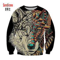 Sondirane New Fashion 3D Animal Print Wolf Graphics Sweatshirts Design Men Women Long Sleeve Hoodies Cool Style Sweat Tops