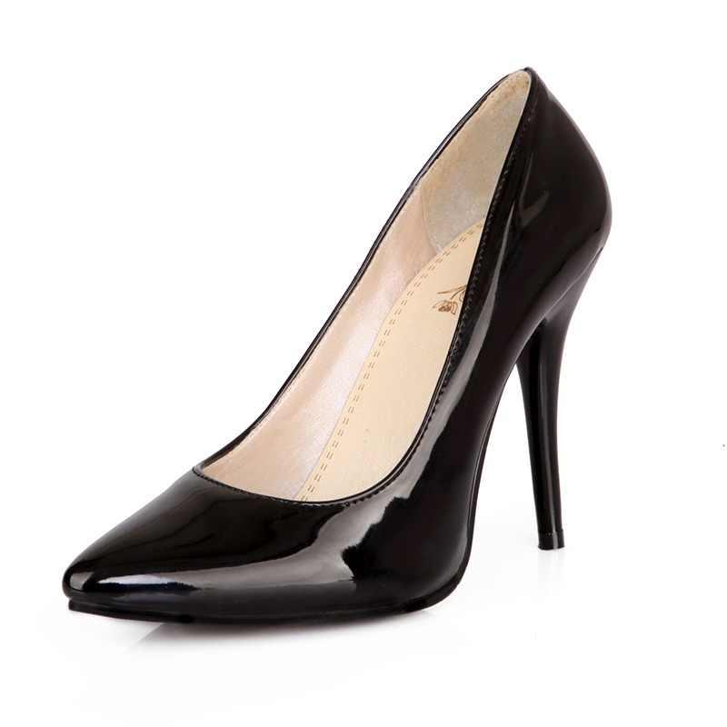 Kcenid tallas grandes 30-48 PU cuero mujeres bombas nueva moda sexy punta  estrecha zapatos 9b53cc26dcb1