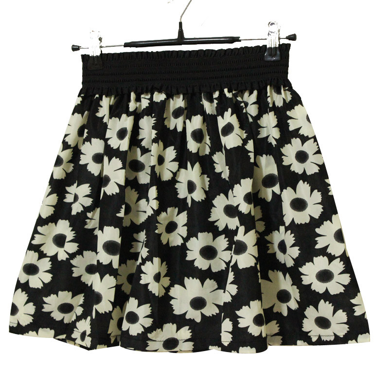 Fashion Pleated Retro High Waist Summer floral plaid Short Mini Skirts 21