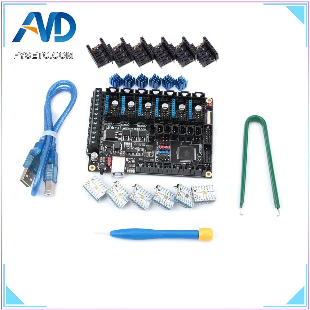 FYSETC F6 V1.3 Bordo ALL-in-one Electronics Soluzione Mainboard Con 6 pz Speciale TMC2208 V1.2 e Protezione per UART Volare Filo