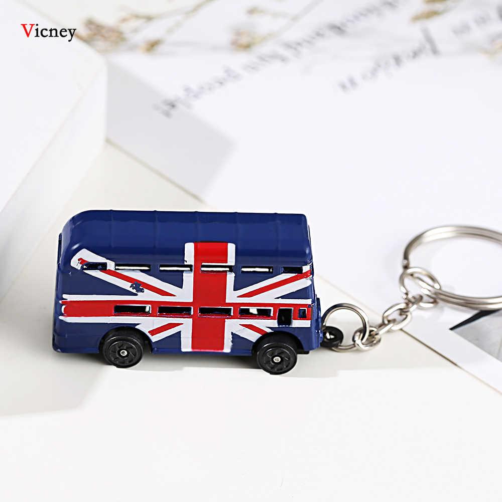 Londres vermelho & azul ônibus chave organizador caixa de correio chave titular pingente chaveiro lembrança presentes para homens chaveiro chaveiro