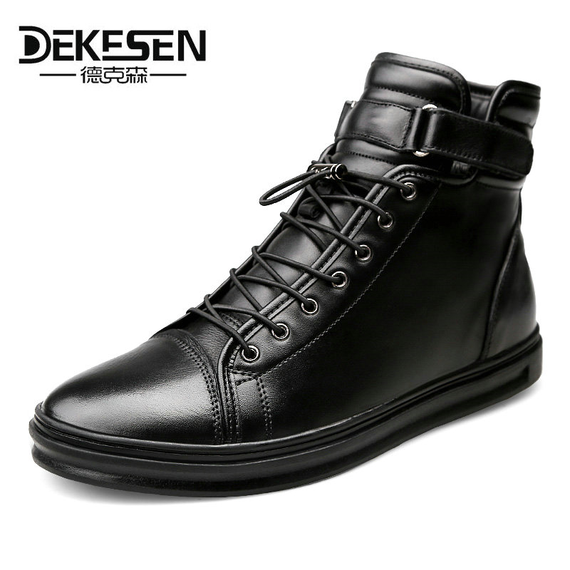 DEKESEN New Mens Genuine Leather Shoes 2017 Fashion High top Winter Shoes Lace up Ankle Boots Autumn Shoes men Warm Footwear fashion genuine leather mens ankle boots pointed toe lace up wedding dress shoes safety shoes men military boots mans footwear