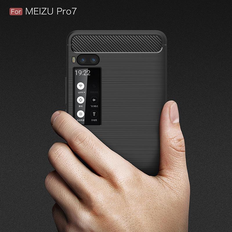 carbon fiber silicon case meizu pro 7 (7)