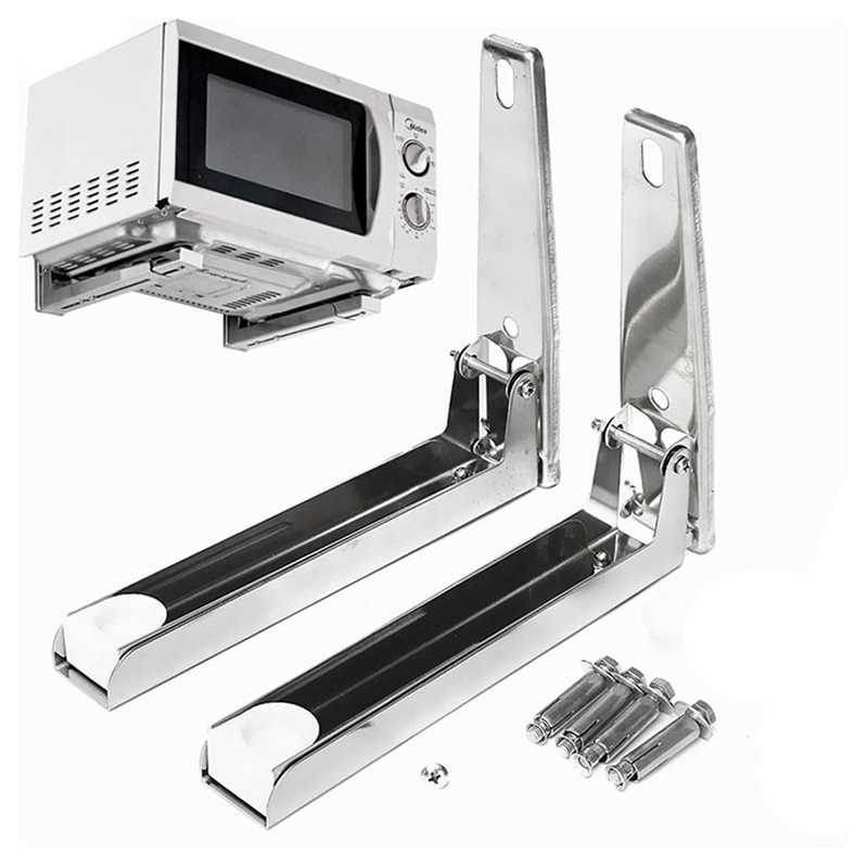Support Frame Steel Foldable Stretch Shelf Rack Microwave Oven Wall Mount Bracket Stainless Silver