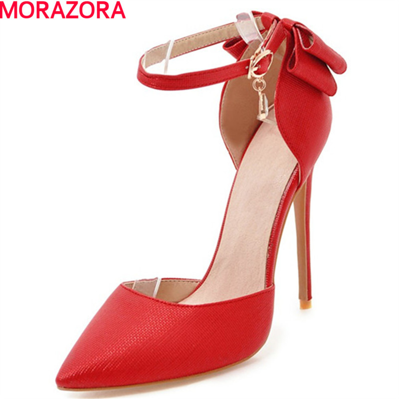 MORAZORA 2018 spring summer new arrival pumps women shoes sweet bowknot thin heel high heels pointed toe with buckle shoes morazora new arrive woman pumps spring summer sweet bowknot fashion splice color sexy thin heels pointed toe buckle shoes woman
