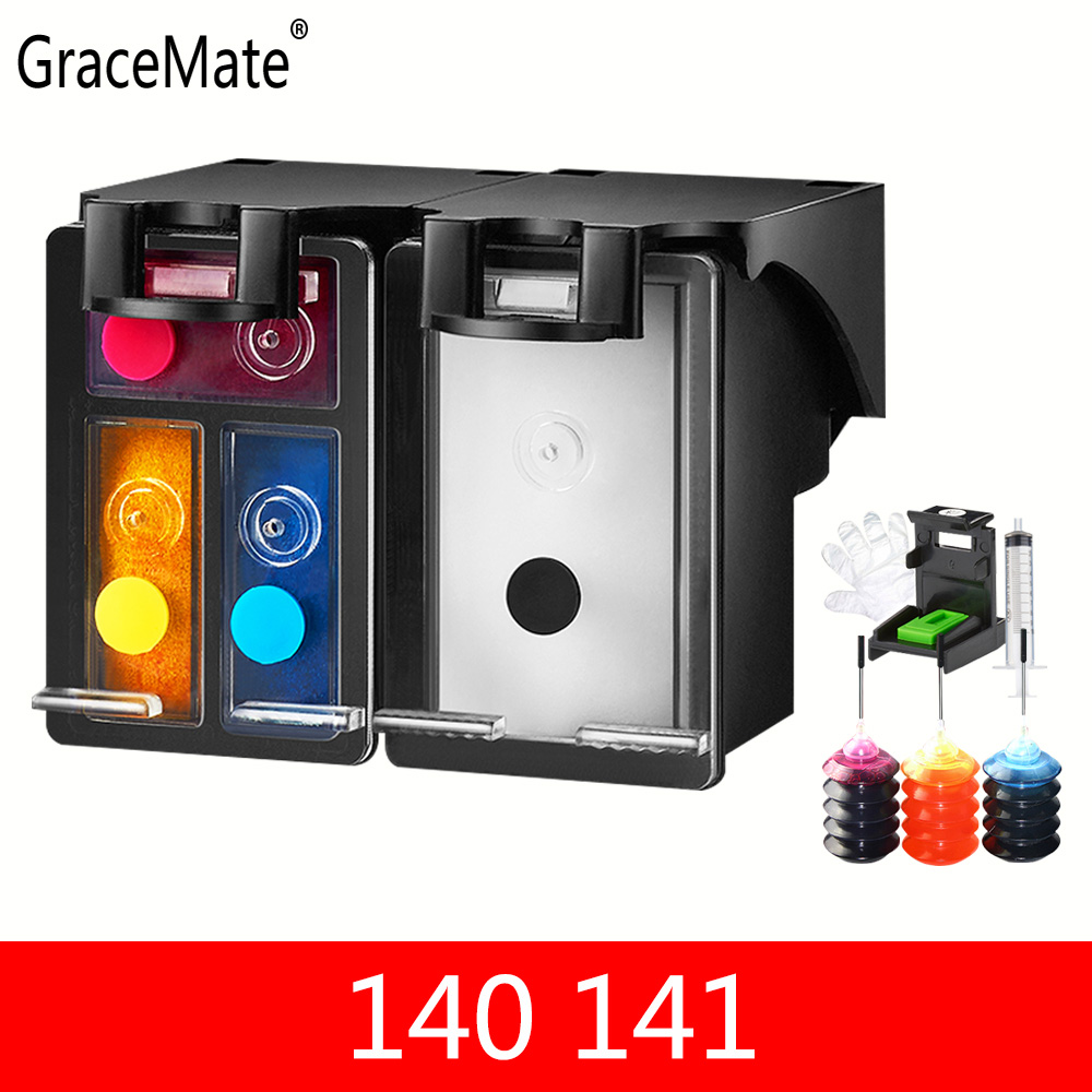 GraceMate Refillable Ink Cartridge Replace for <font><b>HP</b></font> <font><b>140</b></font> <font><b>141</b></font> for <font><b>HP</b></font> DeskJet 5363 D4263 OfficeJet 6413 J5783 J6413 C4283 C4343 C5283 image