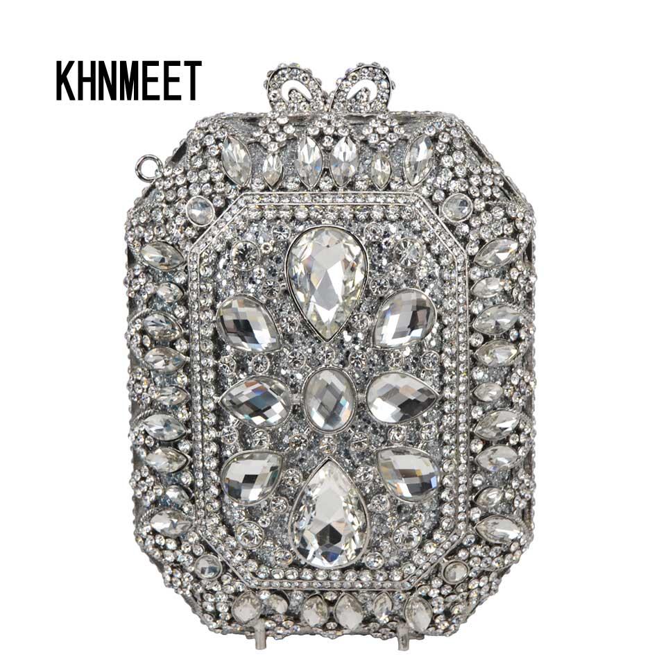 Fashion Designer Silver Crystal Women Evening Bag Female Wedding Bride Purse Party Prom Day Clutch Handbag