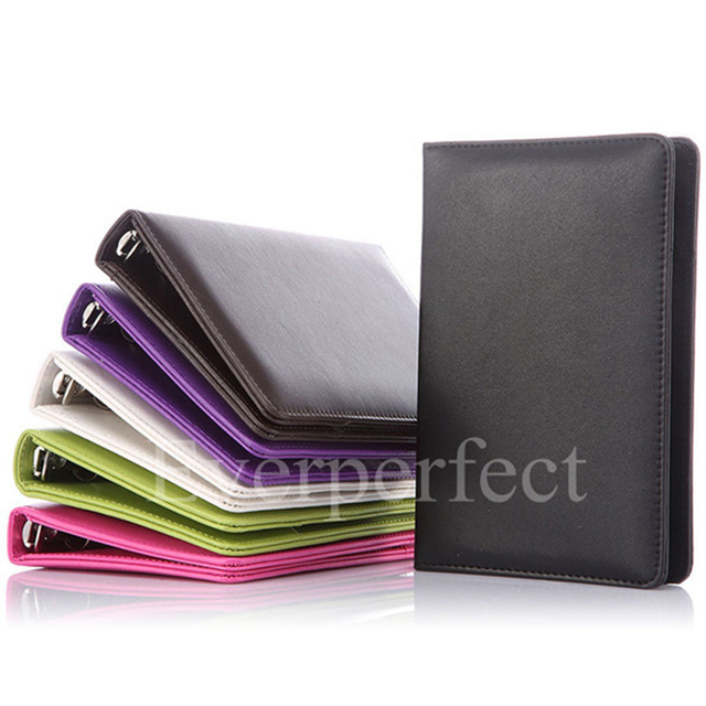Fashion Style Business Office Supplies Colorful Leather 4 Ring Binder Files Folder Travel Portfolios