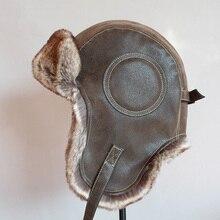 Зимняя ушанка шляпа мужская женская пилот летчик-бомбардировщик шапка-ушанка из искусственного меха кожа белая шапка с ушками