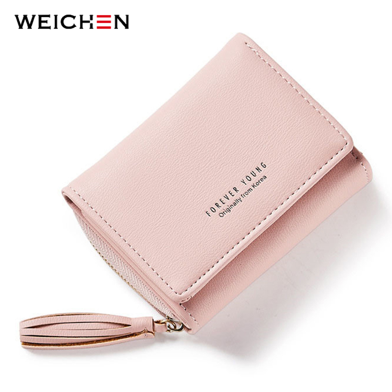 WEICHEN Tassel Pendant Design Small Clutch Wallets For Women, Coin Purses Card Holders Invoice Pocket PU Leather Female Lady Bag app blog brand women girl teenagers cute cat coin purses holders leather clutch wallet female tassel pendant money wallets