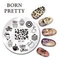 NACIDO PRETTY 5.5 cm Ronda Nail Art Sello Plantilla de Diseño Placa de la Imagen del Tiempo del Café BP-91