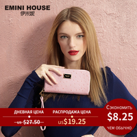EMINI HOUSE Ostrich Pattern Wallet Women Genuine Leather Long Wallets Zipper Coin Purse Card Holder Casual Clutch Travel Wallets