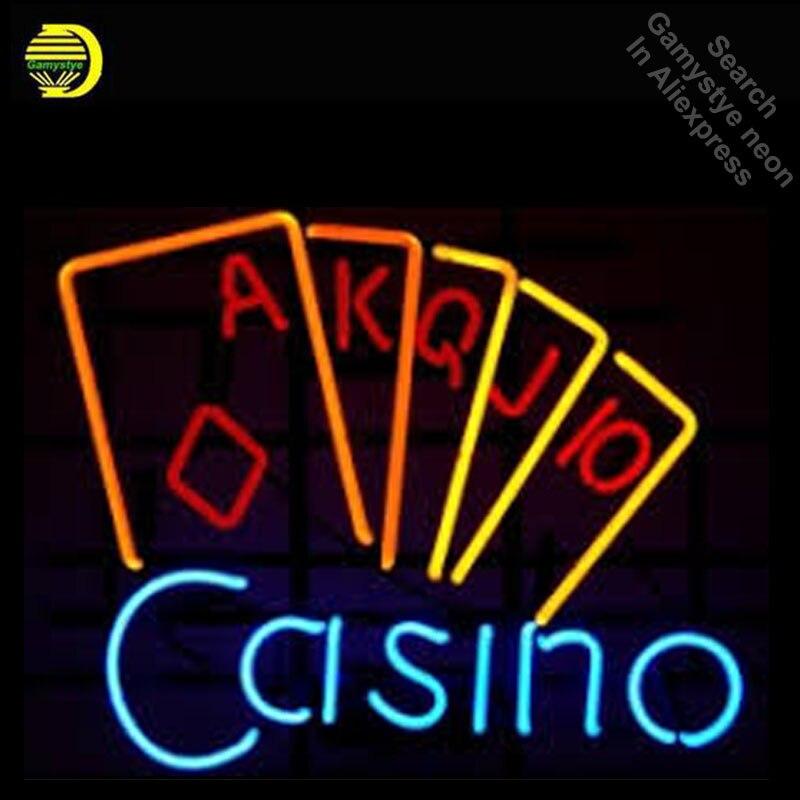 Casino Poke Néon Signe Décorer Réel Verre Tube Cool Néon Ampoules Salle de Loisirs Artisanat Intérieur Cadre Signe Magasin Affichage lampes